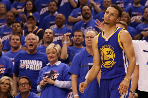 Stephen Curry #30 of the Golden State Warriors reacts in the second quarter against the Oklahoma City Thunder in game three of the Western Conference Finals during the 2016 NBA Playoffs at Chesapeake Energy Arena on May 22, 2016 in Oklahoma City, Oklahoma.  Ronald Martine/Getty Images