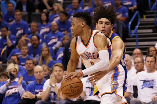 Russell Westbrook #0 of the Oklahoma City Thunder drives against Anderson Varejao #18 of the Golden State Warriors in the second quarter in game three of the Western Conference Finals during the 2016 NBA Playoffs at Chesapeake Energy Arena on May 22, 2016 in Oklahoma City, Oklahoma. Ronald Martinez/Getty Images