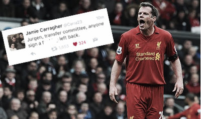 Jamie Carragher voices his opinion on Alberto Moreno on Twitter (image: The Guardian & Twitter)
