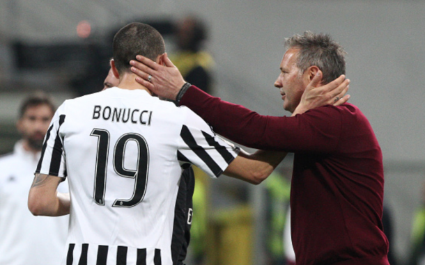 Milan coach Sinisa Mihajlovic and Juventus defender Leonardo Bonucci (19) during the Serie A football match n.32 MILAN - JUVENTUS on 09/04/16 at the Stadio Giuseppe Meazza in Milan, Italy. (Photo by Matteo Bottanelli/NurPhoto via Getty Images)