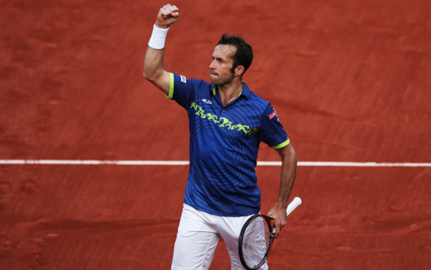 Radek Stepanek of Czech Republic reacts during his match with Andy Murray of Great Britain during Day Two of The French Open at Roland Garros on May 23, 2016 in Paris, France . (Photo by Ian MacNicol/Getty Images)