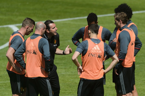 Belgium boss Wilmots with several of his squad in training earlier this week. (Picture: Getty Images)