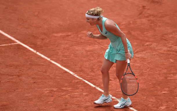 Timea Bacsinszky of Switzerland reacts during her women's single second round match against Eugenie Bouchard of Canada on day five of the 2016 French Open at Roland Garros on May 26, 2016 in Paris, France. (Photo by Aurelien Meunier/Getty Images)