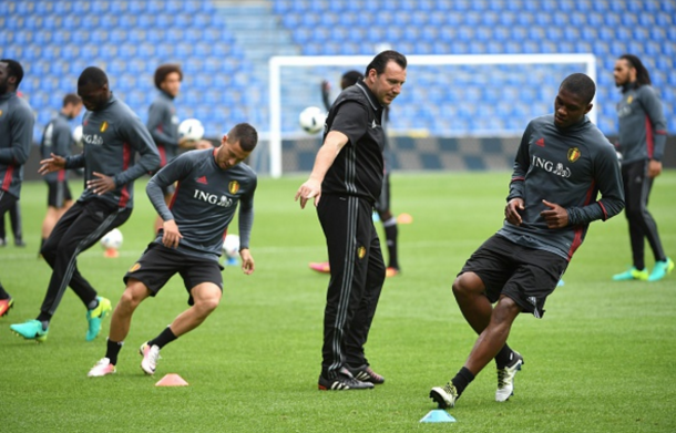 Wilmots overseeing a training session in Genk recently as Belgium prepare to face Finland. (Picture: Getty Images)