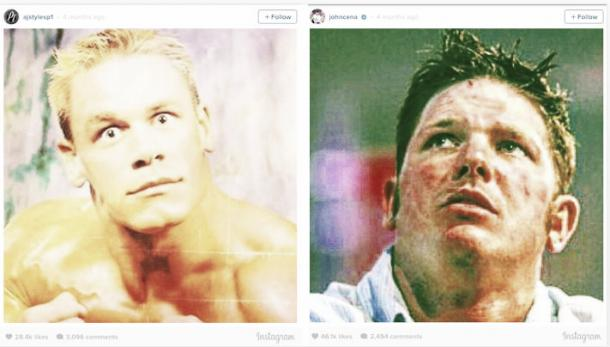 The two Instagram posts of Cena and Styles (image: Instagram)