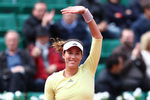 Garbine Muguruza of Spain celebrates her victory during the Ladies Singles first round match against Anna Karolina Schmiedlova of Slovakia on day two of the 2016 French Open at Roland Garros on May 23, 2016 in Paris, France. (Photo by Julian Finney/Getty Images)