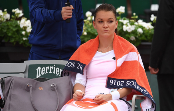 Agnieszka Radwanska of Poland reacts during the Ladies Singles fourth round match against Tsvetana Pironkova of Bulgaria on day ten of the 2016 French Open at Roland Garros on May 31, 2016 in Paris, France. (Photo by Dennis Grombkowski/Getty Images)