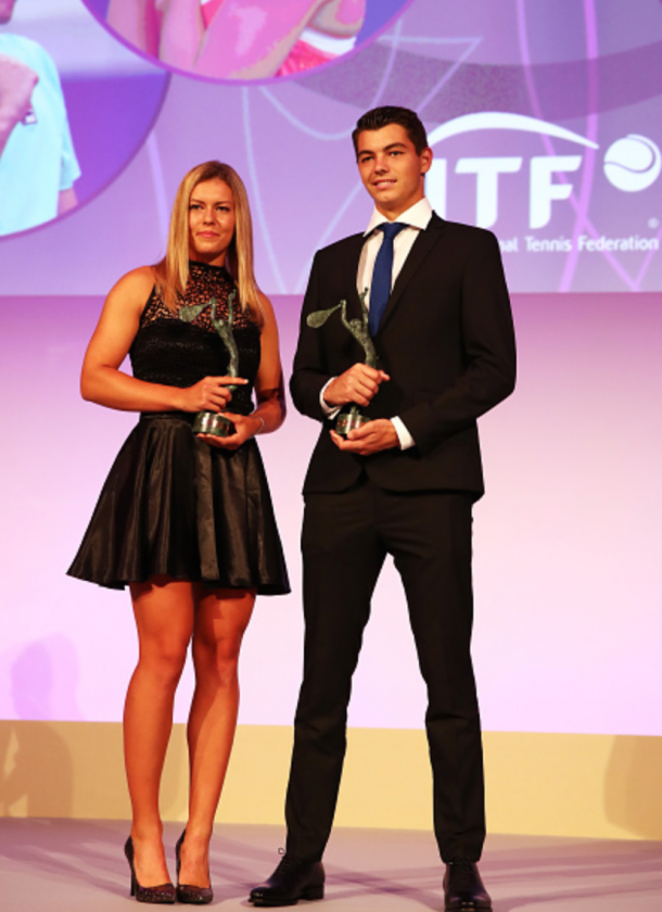 Girls World Champion Dalma Galfi of Hungary and Boys World Champion Taylor Fritz of the United States receive their awards during the 2016 ITF World Champions Dinner on day ten of the 2016 French Open at the Pavillon Cambon Capucines on May 31, 2016 in Paris, France. (Photo by Clive Brunskill/Getty Images)