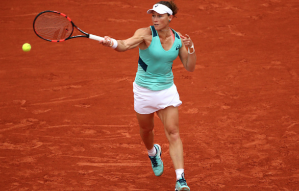 Samantha Stosur of Australia hits a forehand during the Ladies Singles quarter final match against Tsvetana Pironkova of Bulgaria on day eleven of the 2016 French Open at Roland Garros on June 1, 2016 in Paris, France. (Photo by Clive Brunskill/Getty Images)