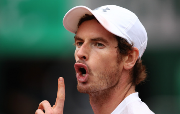 Andy Murray of Great Britain reacts during the Men's Singles quarter final match against Richard Gasquet of France on day eleven of the 2016 French Open at Roland Garros on June 1, 2016 in Paris, France. (Photo by Clive Brunskill/Getty Images)