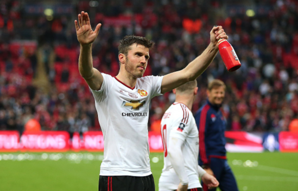 Michael Carrick of Manchester United celebrates following his team's 1-2 victory at the end of extra time during The Emirates FA Cup final match between Manchester United and Crystal Palace at Wembley Stadium on May 21, 2016 in London, England. (Photo by Catherine Ivill - AMA/Getty Images)