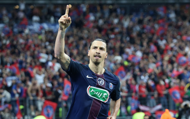 Zlatan Ibrahimovic of PSG celebrates his second goal during the French Cup Final match between Paris Saint-Germain (PSG) and Olympique de Marseille (OM) at Stade de France on May 21, 2016 in Saint-Denis nearby Paris, France. (Photo by Jean Catuffe/Getty Images)