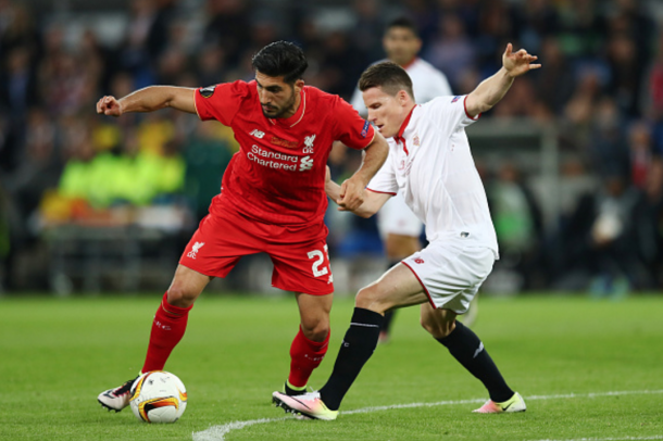 Emre Can, pictured in action against Sevilla in the Europa League final, was one of the Reds' brightest performers throughout the season. (Picture: Getty Images)