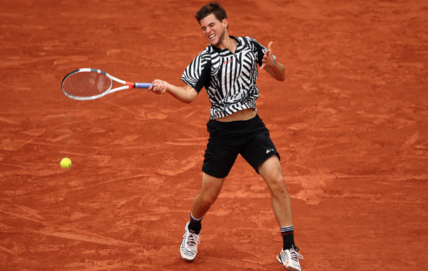 Dominic Thiem of Austria hits a forehand during the Men's Singles semi final match againstNovak Djokovic of Serbia on day thirteen of the 2016 French Open at Roland Garros on June 3, 2016 in Paris, France. (Photo by Clive Brunskill/Getty Images)