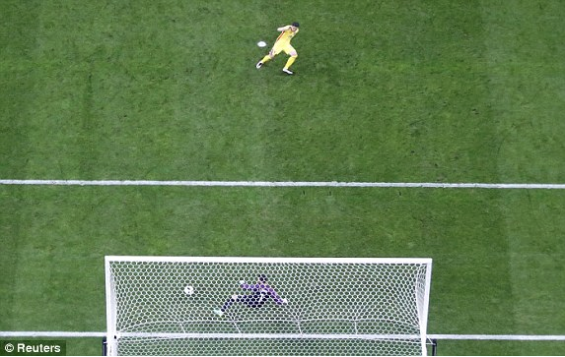 An arieal view of Romania's penalty, shows Lloris diving the wrong way Photo: Reuters