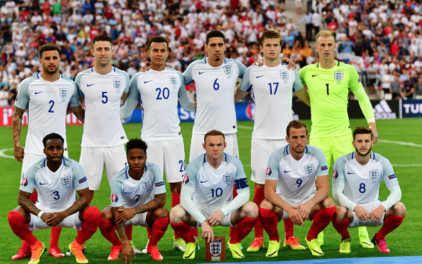 England players line up for the team photos prior to the UEFA EURO 2016 Group B match between England and Russia at Stade Velodrome on June 11, 2016 in Marseille, France. (Photo by Dan Mullan/Getty Images)