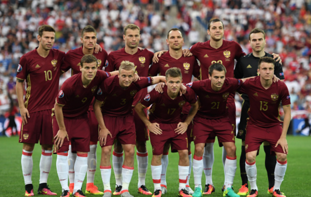 Russia players line up for the team photos prior to the UEFA EURO 2016 Group B match between England and Russia at Stade Velodrome on June 11, 2016 in Marseille, France. (Photo by Laurence Griffiths/Getty Images)