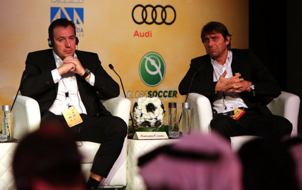 Wilmots and Conte at an international coaching experience workshop in Dubai in December. (Picture: Getty Images)