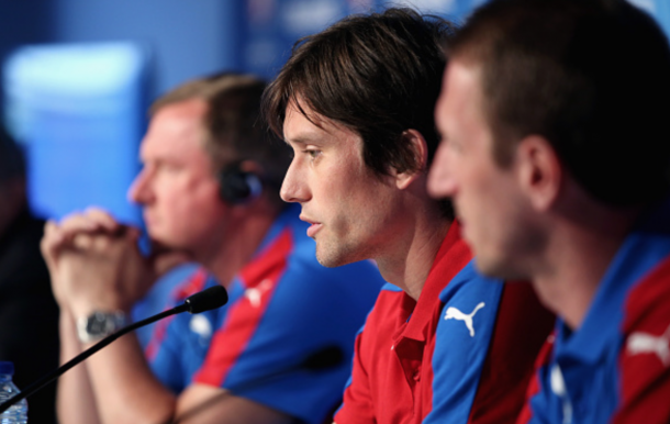 Tomas Rosicky of Czech Republic attends the Czech Republic press conference at Stadium Municipal on June 12, 2016 in Toulouse, France. (Photo by Handout/UEFA via Getty Images)