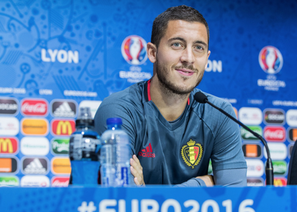 Hazard speaking to the press on Sunday in France. (Picture: Getty Images)