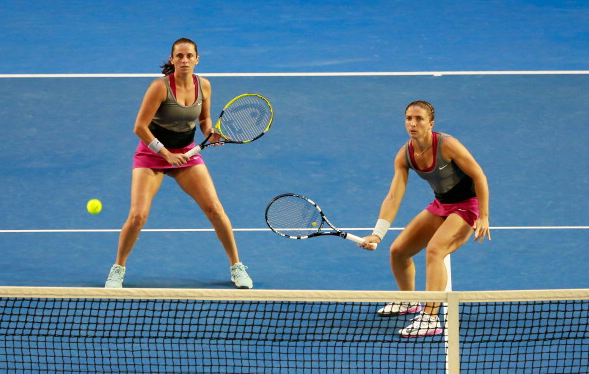 Sara Errani and Roberta Vinci in Australian Open 2014. Playing both on the net was their typical style. Photo:Getty Images/Scott Barbour