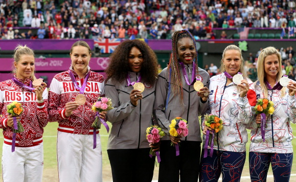 The doubles podium at 2012 Olympics. Photo:Getty Images/Clive Brunskill