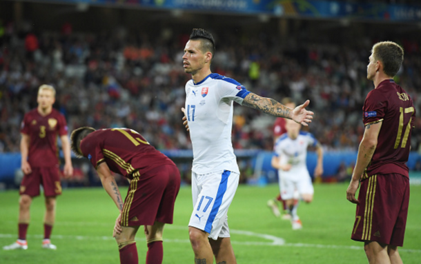 Hamsik celebrates his stunning strike to make it 2-0. (Photo: Getty Images)