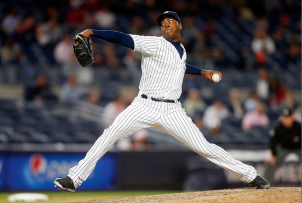 Aroldis Chapman #54 of the New York Yankees pitches in the ninth inning against the Los Angeles Angels of Anaheim at Yankee Stadium on June 9, 2016 in the Bronx borough of New York City. (June 8, 2016 - Source: Jim McIsaac/Getty Images North America)