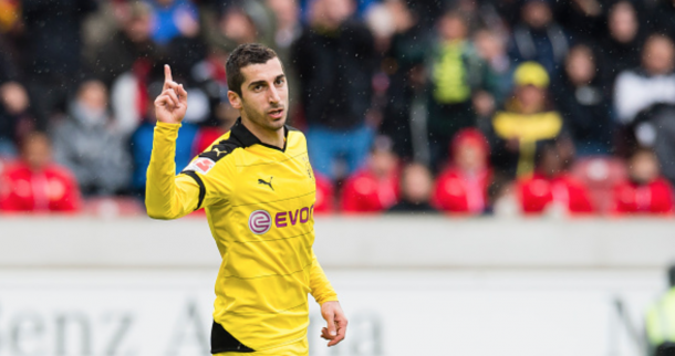 Henrikh Mkhitaryan of Borussia Dortmund cheers after scoring his team's 3rd goal at Mercedes-Benz Arena on April 23, 2016 in Stuttgart, Germany. (Photo by Alexandre Simoes/Borussia Dortmund/Getty Images)