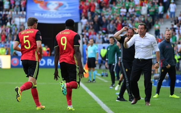 Lukaku and Wilmots celebrate together after the striker's opening goal in the 48th minute. (Picture: Getty Images)