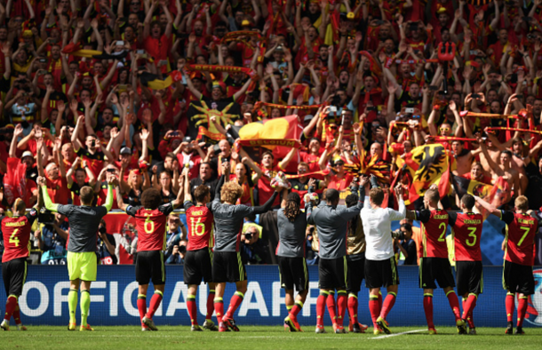 The Belgium players thank their supporting contingent after the final whistle. (Picture: Getty Images)