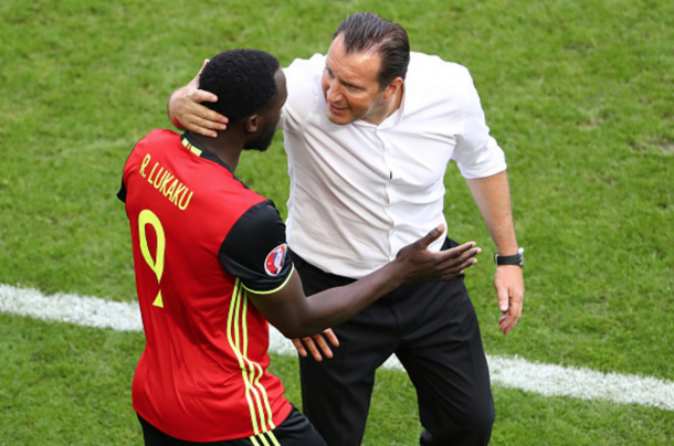 Lukaku sprinted straight to Wilmots to celebrate with his manager after opening the scoring. (Picture: Getty Images)