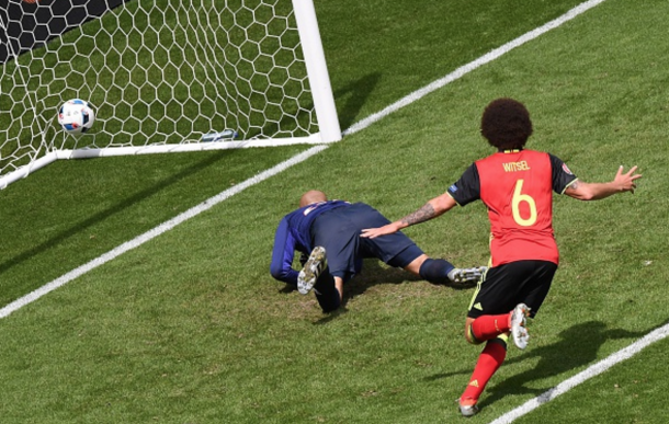 Witsel runs off to celebrate after his header put Belgium 2-0 up against Ireland. (Picture: Getty Images)