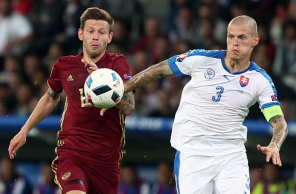 Skrtel, donning the captain's armband, helped Slovakia to a maiden Euros win. (Picture: Getty Images)