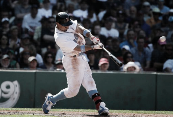 Mookie Betts gave the Red Sox a 2-1 lead with his solo homer in the seventh inning.   AP