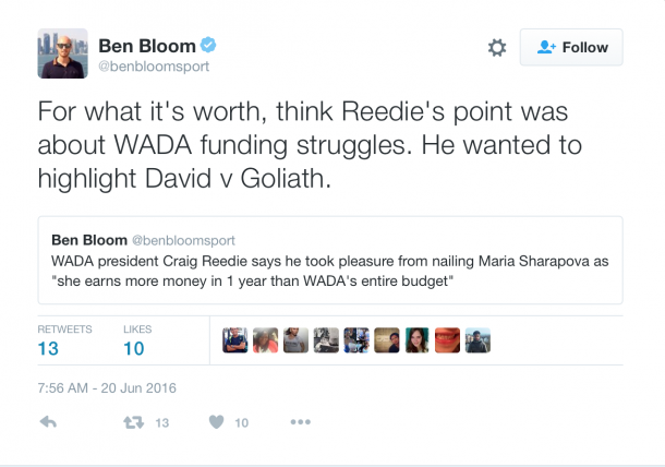 Ben Bloom's thoughts on Reedie's statement