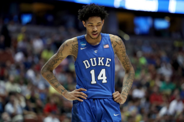 Brandon Ingram #14 of the Duke Blue Devils looks down in the second half while taking on the Oregon Ducks in the 2016 NCAA Men's Basketball Tournament West Regional at the Honda Center on March 24, 2016 in Anaheim, California. (March 23, 2016 - Source: Sean M. Haffey/Getty Images North America)