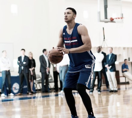 Ben Simmons sported his future colors Tuesday at the 76ers training facility.