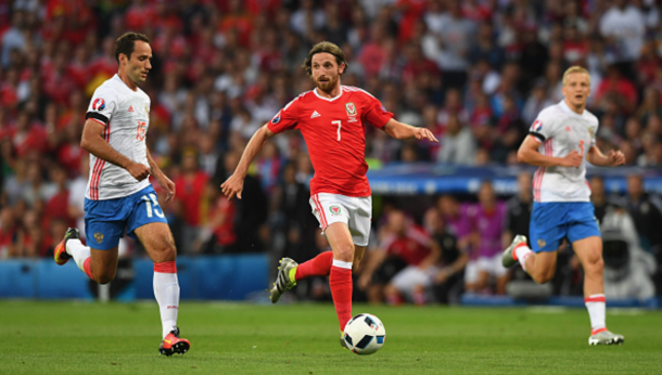 Joe Allen, pictured against Russia on Monday, was one of Wales' best performers. (Picture: Getty Images)