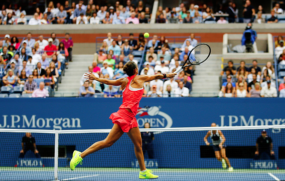 Roberta Vinci on the net, a place where she excells on the tennis court. Source:Getty/Al Bello