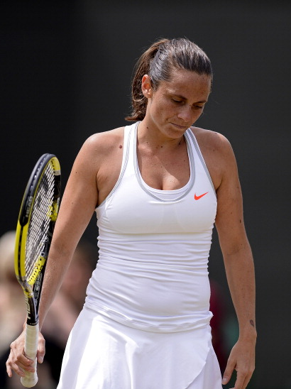 Roberta Vinci after falling to Na Li in the Wimbledon 2013 round of 16. Source:Getty Images/Dennis Grombkowski