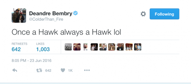 Bembry goes from the Saint Joseph's Hawks to the Atlanta Hawks (credit: DeAndre Bembry/Twitter)