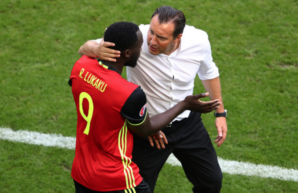 Lukaku speaks to Wilmots after scoring against Ireland earlier in the tournament. (Picture: Getty Images)