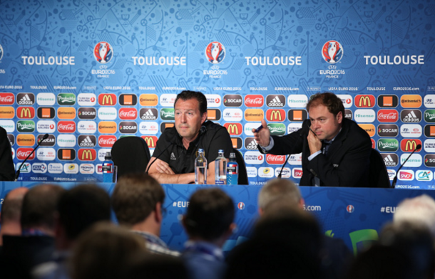 Wilmots addresses the press in a press conference in Toulouse earlier this week. (Picture: Getty Images)