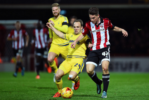Canos in action for Brentford against Nottingham Forest while on loan there last season. (Picture: Getty Images)
