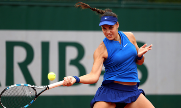 Ana Konjuh of Croatia hits a forehand during the Ladies Singles second round match against Dominika Cibulkova of Slovakia on day five of the 2016 French Open at Roland Garros on May 26, 2016 in Paris, France. (Photo by Julian Finney/Getty Images)