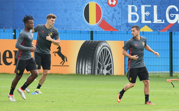 Batshuayi and Meunier in national team training on the eve of the Wales game. (Picture: Getty Images)