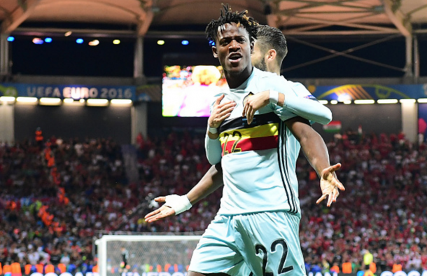 Batshuayi celebrates his first ever major tournament goal for Belgium last week. (Picture: Getty Images)