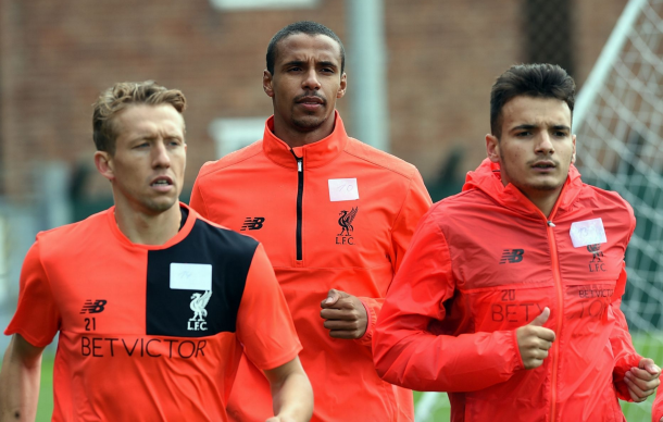 Matip in training with his new teammates on Saturday at their Melwood training ground. (Picture: Getty Images)