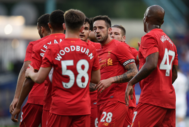 The Liverpool squad celebrate Ings' opening goal. (Picture: Getty Images)
